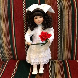 NEW BROWN EYED WHITE LACE RED ROSE PORCELAIN DOLL